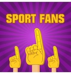 Color sport fans foam fingers on the retro vector