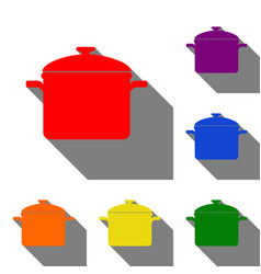 Cooking pan sign set of red orange yellow vector