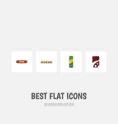 Flat icon eating set of fizzy drink eggshell box vector