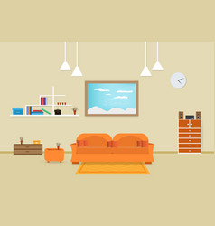 Interior living room design relax with sofa vector