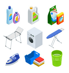 isometric laundry service elements set vector image