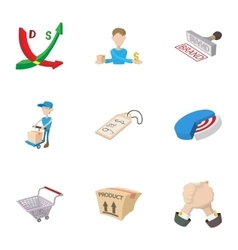 Marketing store icons set cartoon style vector image