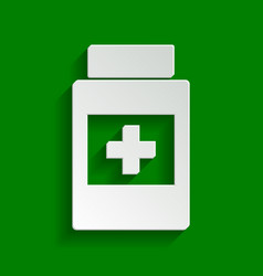 Medical container sign paper whitish icon vector