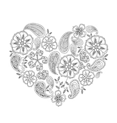 Monochrome heart shape with mehendi flowers and vector