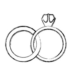 Monochrome sketch contour of wedding rings vector