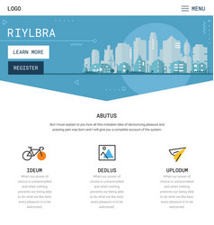 One page website design with city header vector