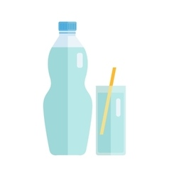 Plastic Bottle with Water or Beverage vector image vector image