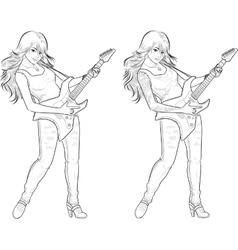 Rock star guitarist girl lineart vector image