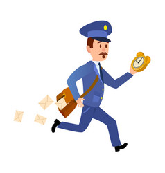 Running mailman hurries to deliver mails vector