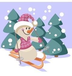Snowman color 18 vector image vector image