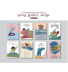 spring set universal floral cards or posters vector image vector image