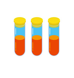 Three glass vials with orange fluid vector