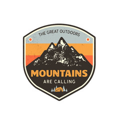 Vintage hand drawn mountains emblem the great vector