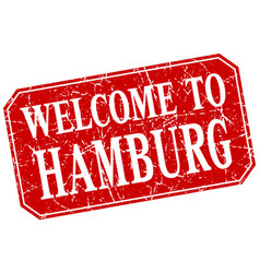 Welcome to hamburg red square grunge stamp vector