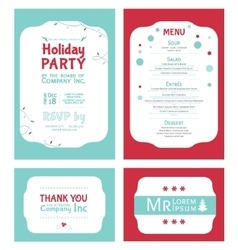 Winter holiday party invitation set light vector