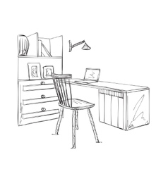 Work place sketch hand drawn table and chair vector