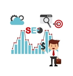 Search engine optimization flat icons vector