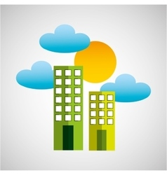 Building clean environment sun and cloud vector