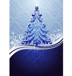 Ornate blue christmas tree vector