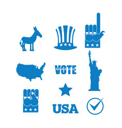 Democrat donkey election icon set symbols of vector