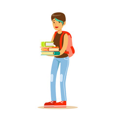 Girl with modern short haircut standing with books vector