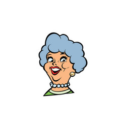 Funny adult woman fashionable grandmother portrait vector
