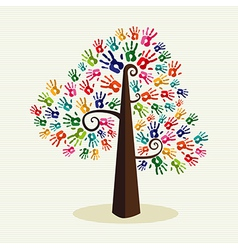 Colorful solidarity hand prints tree vector
