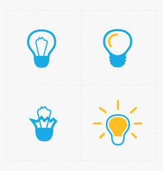 Colorful light bulbs bulb icon set vector