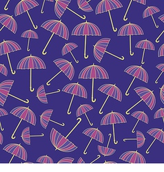 Pattern with umbrellas on blue background vector