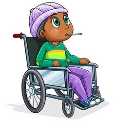 A black man riding on a wheelchair vector