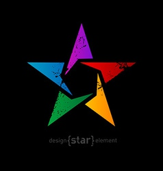Abstract rainbow star with vintage effect on black vector