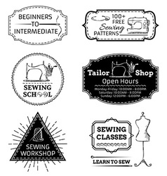 Set of linear sewing and fashion design elements vector