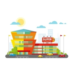 Supermarket building facade with parking in front vector