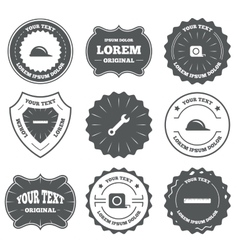 Construction helmet and ruler roulette icons vector