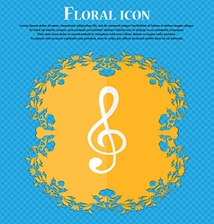 Treble clef icon floral flat design on a blue vector