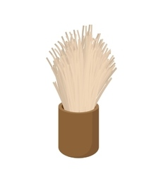 Wooden shaving brush cartoon icon vector
