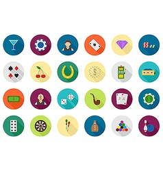 Game of chance round icons set vector
