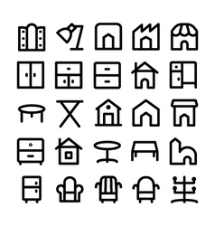 Buildings and furniture icons 14 vector