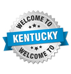 Kentucky 3d silver badge with blue ribbon vector