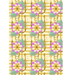 Background with yellow flowers and butterflies vector image vector image