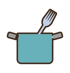 blue pot with fork cook kitchenware vector image