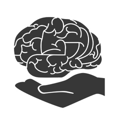 brain hand organ human mind vector image
