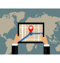 Businessman holds tablet and world map with vector image