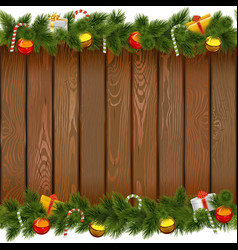 Christmas Border with Lollipop on Wooden Board vector image vector image