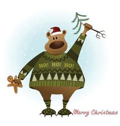 christmas card with bear vector image