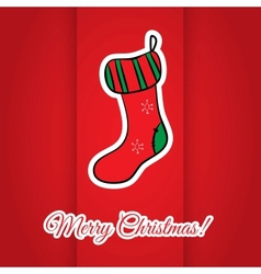 Christmas greeting card with red sock vector