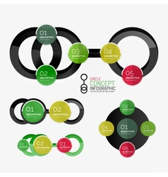 Circle diagram round stickers connected vector
