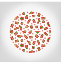 Circle from red gift box and snowflake vector