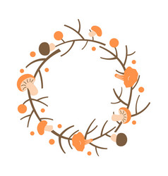Decorative autumn wreath frame made of branches vector