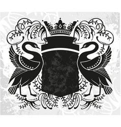 Decorative frame with crown and swan vector